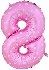 К Цифра, 8, Розовый, (40''/102 см), 1 шт.