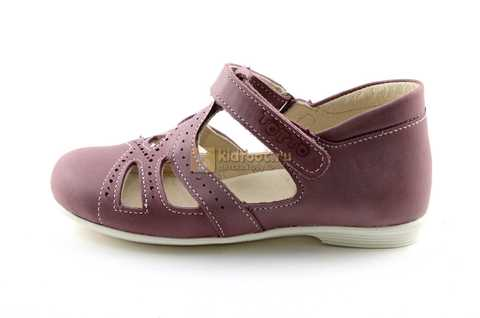 Туфли Тотто из натуральной кожи на липучке для девочек, цвет ирис фиолетовый. Изображение 3 из 12.
