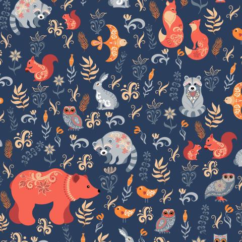 Лесные животные и птицы на синем фоне-2. (Дизайнер Irina Skaska)
