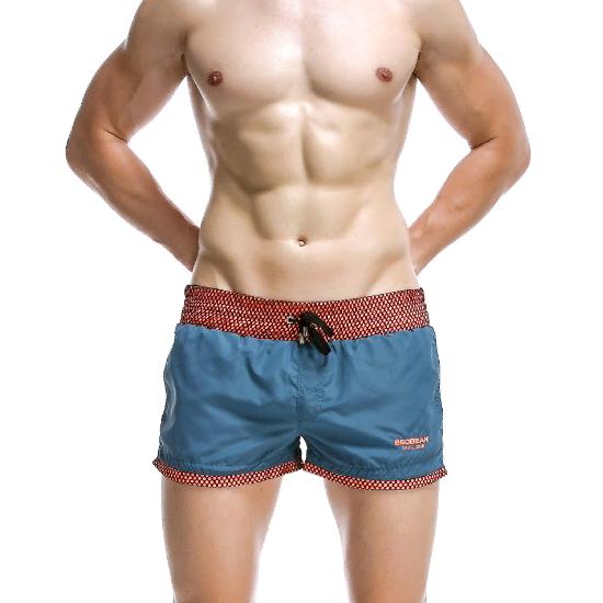 Мужские пляжные шорты изумрудные с оранжевой резинкой SEOBEAN