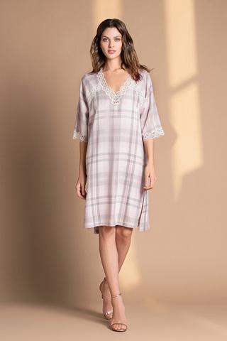 Туника-сорочка из вискозы серо-розовый (61523) Laete