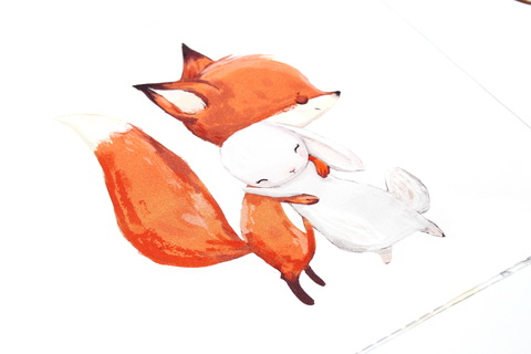 Панель(купон) лисичка обнимает зайку-75*100 см