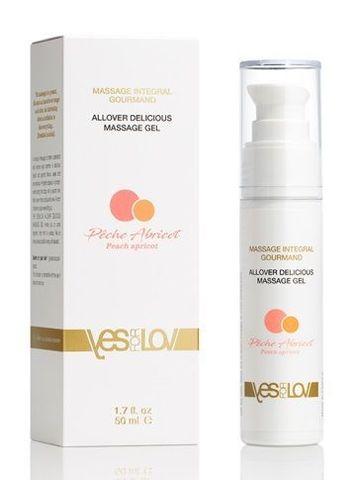 Универсальный массажный гель-смазка Allover Delicious Massage Gel с ароматом персика и абрикоса - 50 мл.