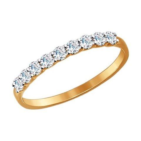 017169 - Тонкое кольцо из золота с фианитами