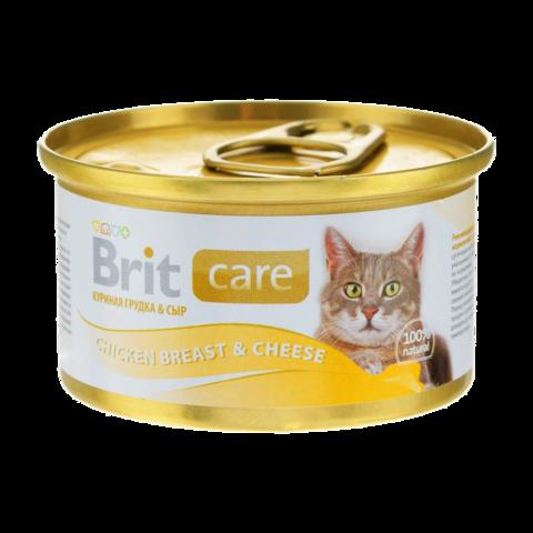 Brit Care Cat Консервы для кошек с куриной грудкой и сыром (Банка)