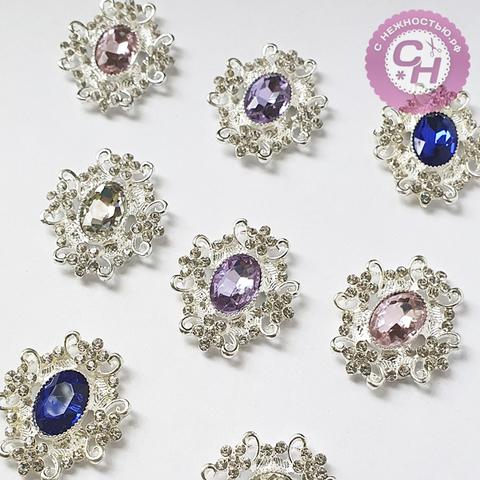 Кабошон - украшение со стразами ювелирное, 3*3,3 см, металлическое, 1 шт.