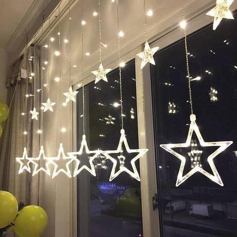 Гирлянда шторы Звезды 3 м белая