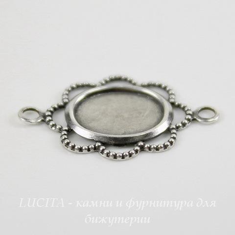"""Сеттинг - основа - коннектор """"Ажурный"""" (1-1) для камеи или кабошона 10х8 мм (оксид серебра) ()"""