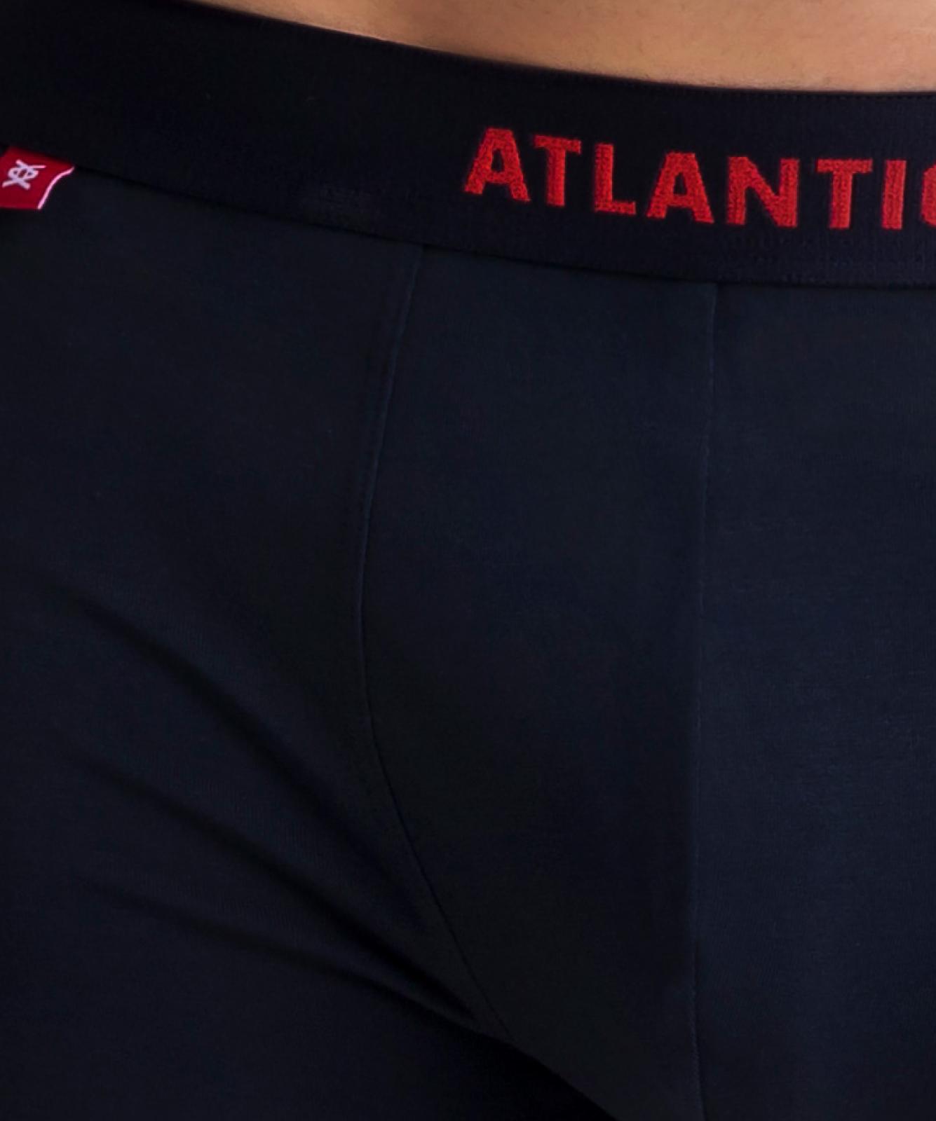 Мужские трусы шорты Atlantic, набор из 3 шт., хлопок, светло-голубые + темно-синие + серый меланж, 3MH-022