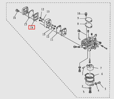 Прокладка для лодочного мотора T9.8 Sea-PRO(5-14)