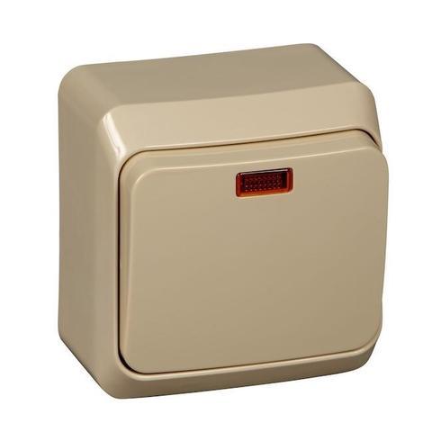Выключатель одноклавишный с подсветкой (схема 1) 10 АХ 250 В. Цвет Кремовый. Schneider Electric(Шнайдер электрик). Этюд. BA10-005K