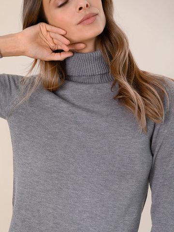 Женская водолазка серого цвета из шерсти и шелка - фото 3