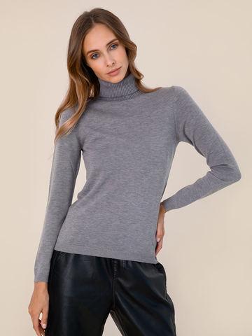Женская водолазка серого цвета из шерсти и шелка - фото 2