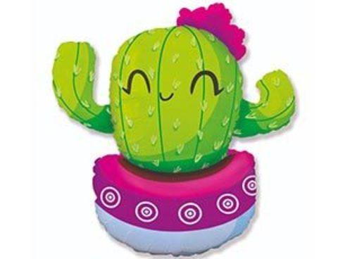 Фольгированный шар Кактус в розовом кашпо