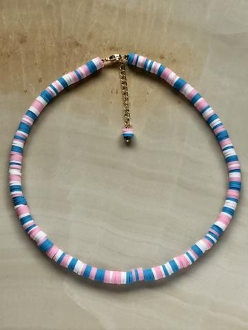 Колье Вулканера, белый, розовый и голубой каучук