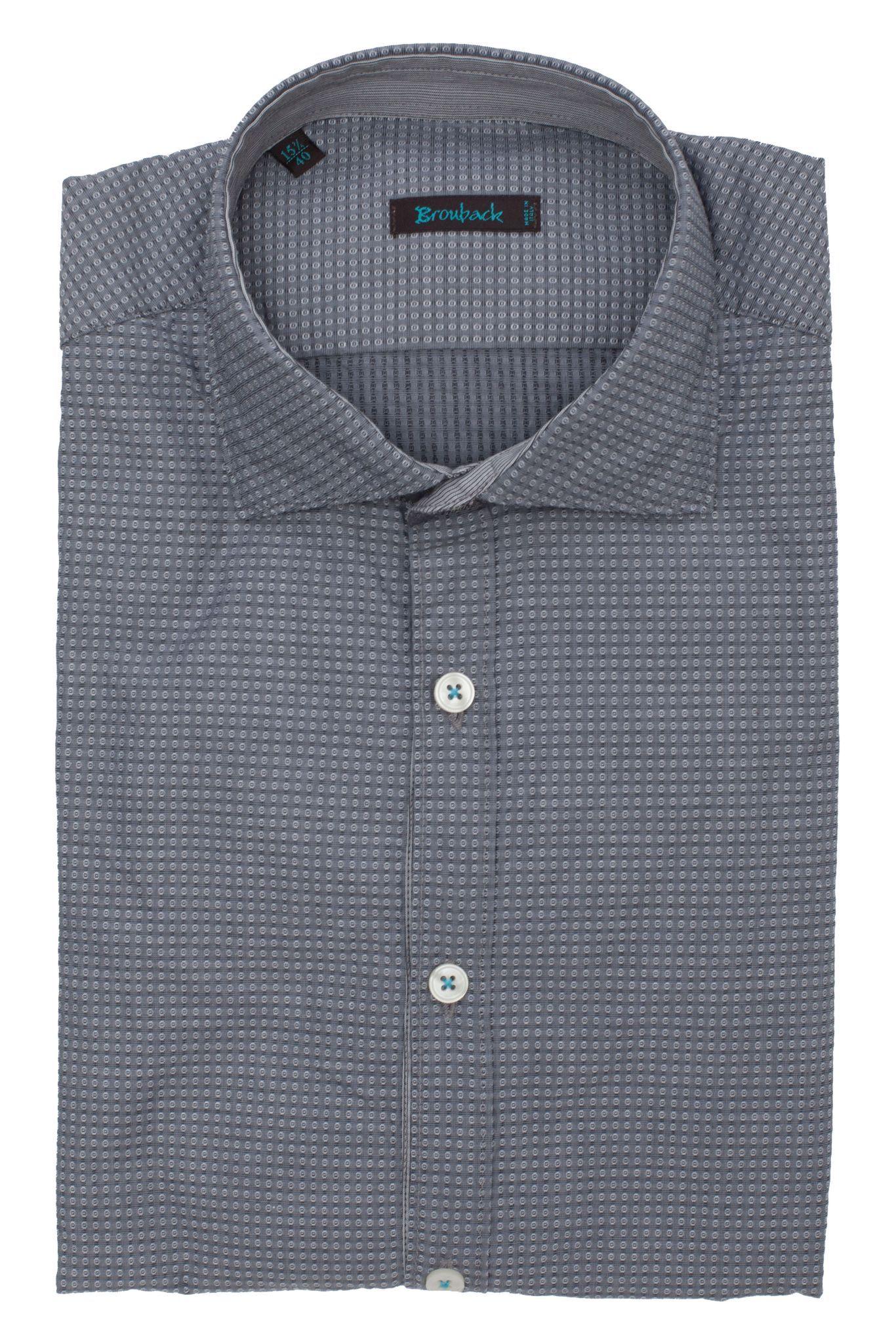Серая рубашка с мелким геометрическим узором