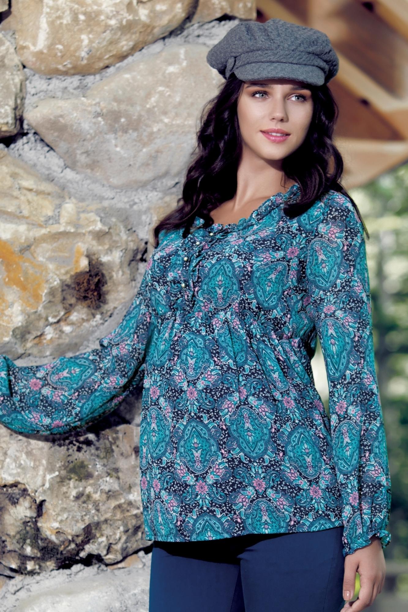 Блузка для беременных 01358 розовый-синий
