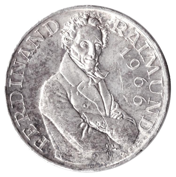 25 шиллингов 1966 год 130 лет со дня смерти Фердинанда Раймунда, Австрия. XF-AU