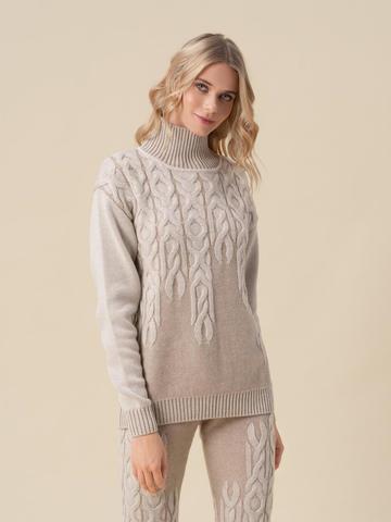 Женский свитер бежевого цвета из 100% кашемира - фото 2