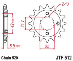 Звезда передняя Kawasaki KLE ER-5 JTF 512.17 RB