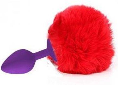 Фиолетовая анальная пробка с красным хвостиком зайки