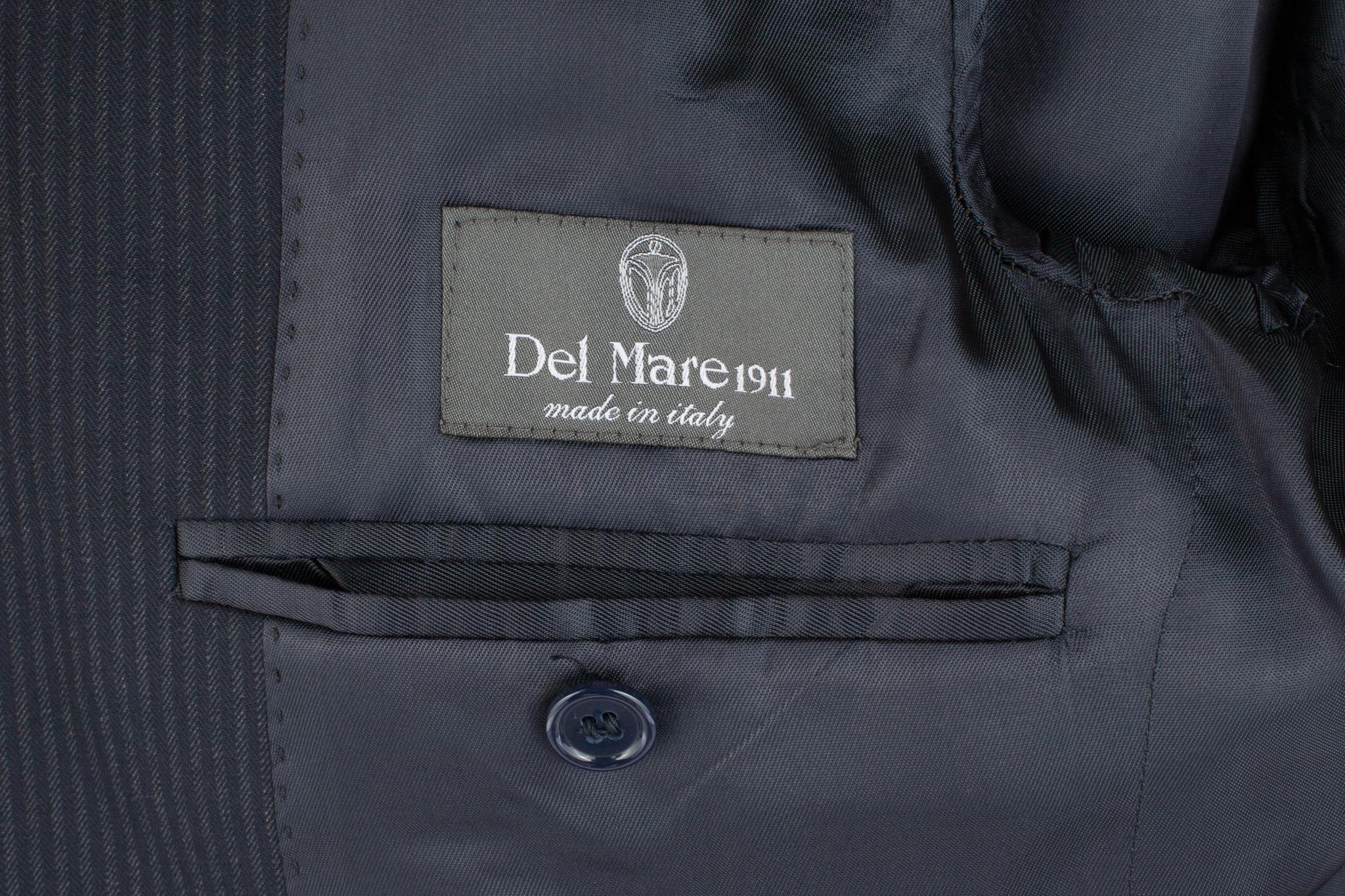 Тёмно-сине-серый костюм «в ёлочку» из 100%-ной шерсти, внутренний карман
