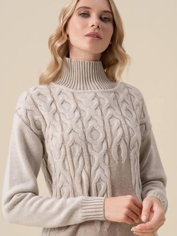 Женский свитер бежевого цвета из 100% кашемира - фото 3