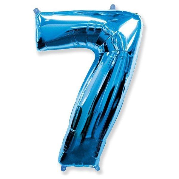 Фольгированная цифра 7, синий