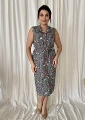 Діна. Красива літня сукня на гудзиках. Оливка
