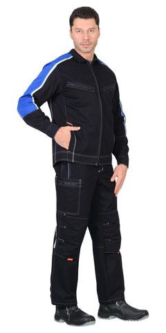 Костюм куртка, п/к т-синий с васильковым и оранж.отд (узб. Саржа 100% хлопок)
