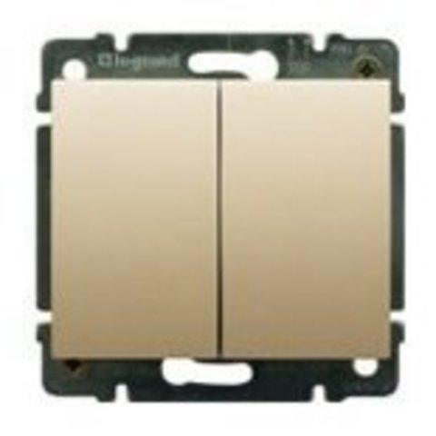 Выключатель двухклавишный 10A. Цвет Титан. Legrand Galea Life (Легранд Галея Лайф). 775805+771412