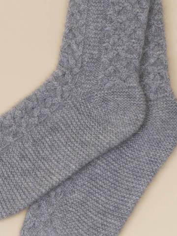Женские носки серого цвета из 100% кашемира - фото 4