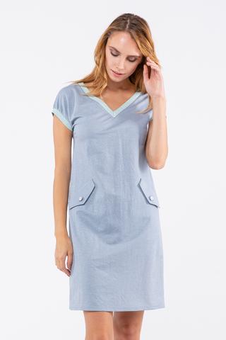 Фото голубое летнее платье с v-образным вырезом без рукавов - Платье З444-480 (1)