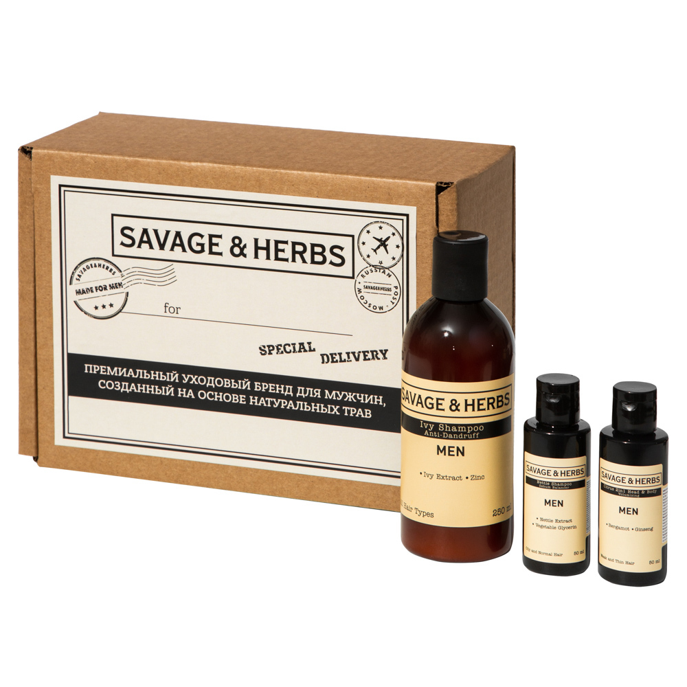 """Каталог Подарочный набор шампуней  для мужчин Savage&Herbs """"Природная сила"""" с бергамотом, крапивой и плющем SH0011front.jpg"""