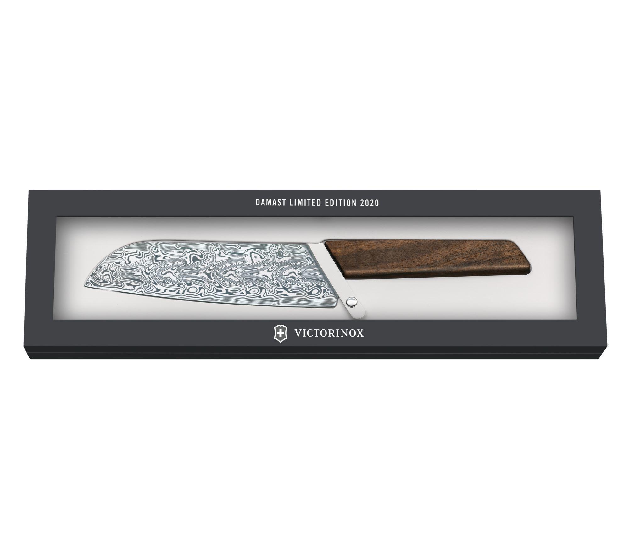 Кухонный коллекционный нож Victorinox Swiss Modern Santoku Damast Limited Edition 2020 (6.9050.17J20) дамасская сталь, лимитированное издание - Wenger-Victorinox.Ru