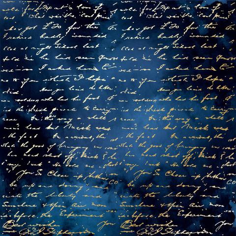 Лист односторонней бумаги с фольгированием Golden Text Night garden 30,5х30,5 см