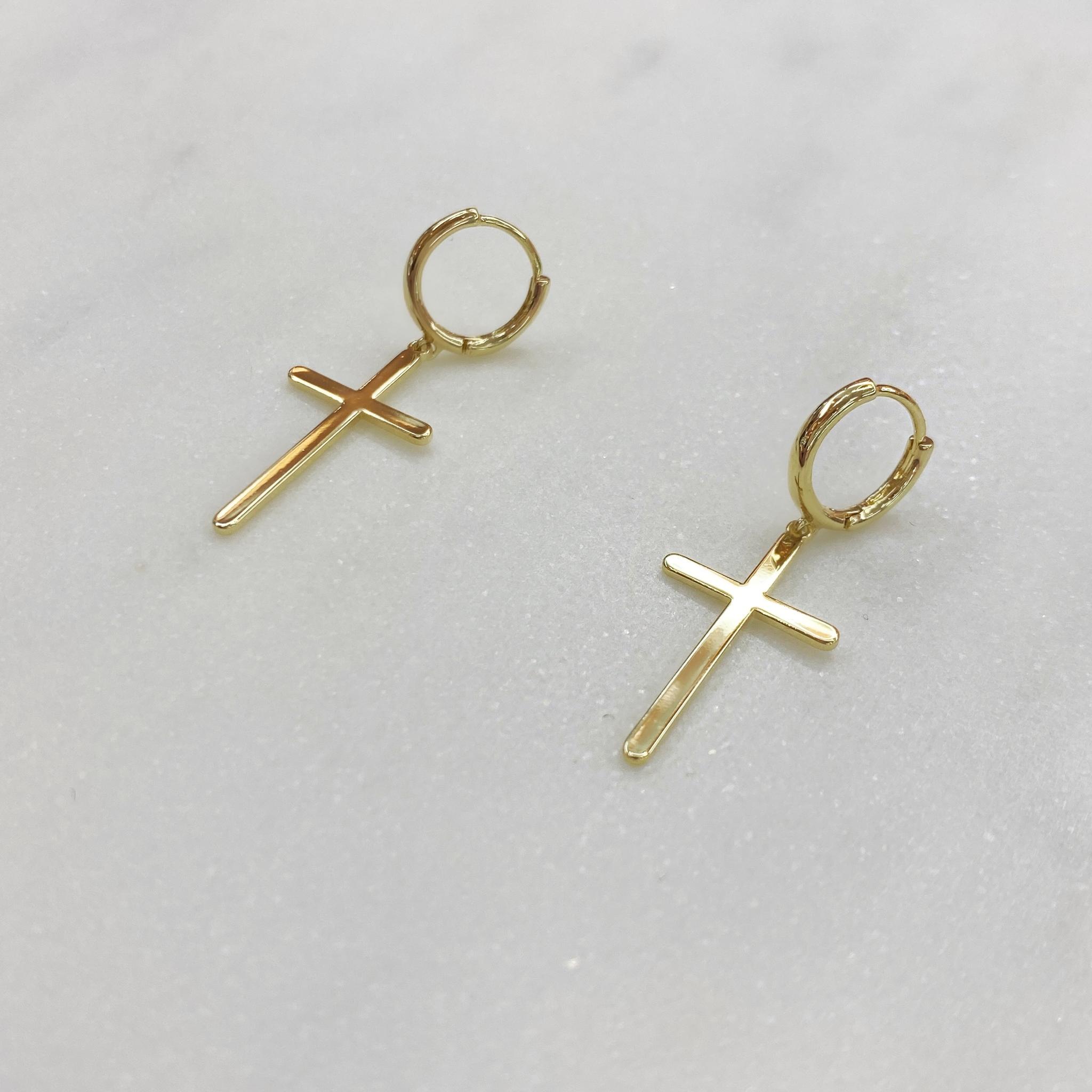 Серьги мини-конго с крестами (золотистый)