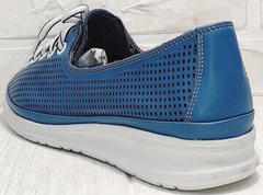 Кожаные сникерсы туфли в спортивном стиле летние sport casual стиль Wollen P029-2096-24 Blue White.