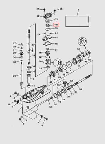 Крыльчатка помпы для лодочного мотора T40 Sea-PRO (23-18)