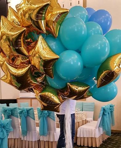 Букет шаров - золото, аквамарин, синий