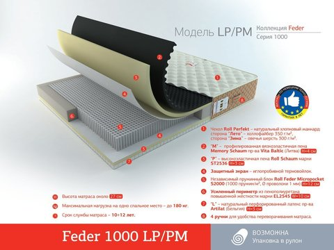 Матрас Roll Matratze Feder 1000 LP/PM с описанием в Megapolis-matras.ru