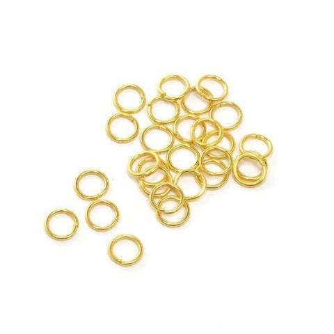 Соединительные колечки разъемные 6 мм, 10 шт. Цвет золото.