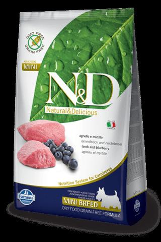 купить Farmina N&D Lamb & Blueberry Adult Mini сухой беззерновой корм для взрослых собак мелких пород ягненок и черника