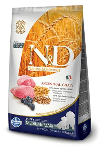 купить Farmina N&D Ancestral Grain Dog Lamb & Blueberry Puppy Medium & Maxi сухой низкозерновой корм для щенков средних и крупных пород, беременных и кормящих сук 12 кг