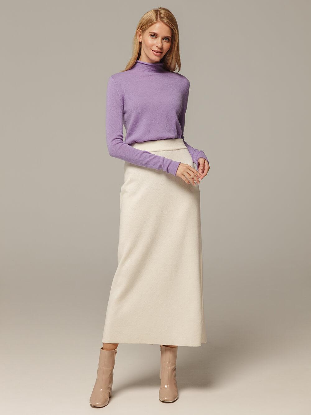 Женская белая юбка с разрезом из 100% кашемира - фото 1