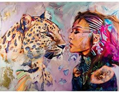 Картина раскраска по номерам 40x50 Девушка и пантера