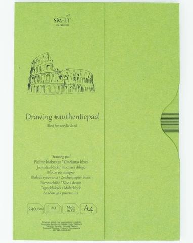 Альбом для акрила Authentic Acrylic 290г/м2 A4 20листов в папке склейка по короткой стороне