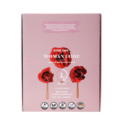 Батончики WOMAN CODE Sexy Plum Box, без сахара, 7шт х 45 г
