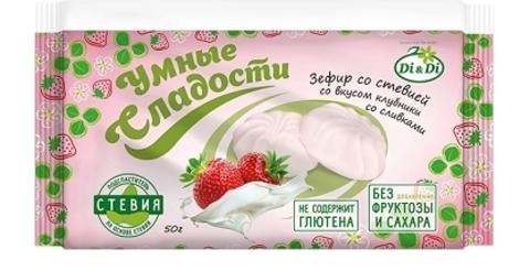 Зефир Умные сладости клубника/сливки со стевией б/глют 150г