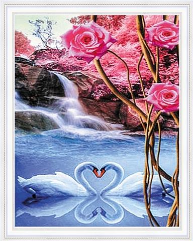 Алмазная Мозаика 40x50 Веточка с розами на фоне лебедей (арт. SGA2799 )